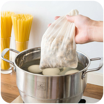 Cotton Cloth Bag Locking Spice Strainer Mesh Filter Chinese Medicine Herbal Ball Kitchen Cooking Tools Colander Soup Tea Bag 1Pc