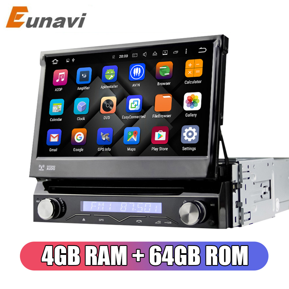 Eunavi 1 Din Android 9.0 Octe Core Car DVD Player For Universal GPS Navigation Stereo Radio WIFI MP3 Audio USB SWC 4GB 64GB image