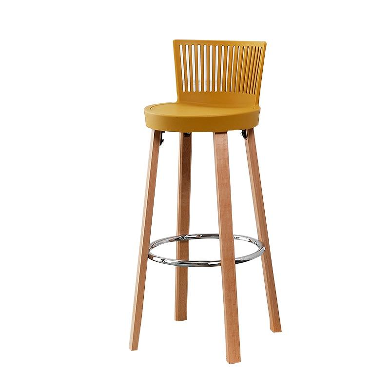Nordic Bar Chair Solid Wood Bar Stool Bar Chair Cafe High Stool Home Leisure Designer Chair