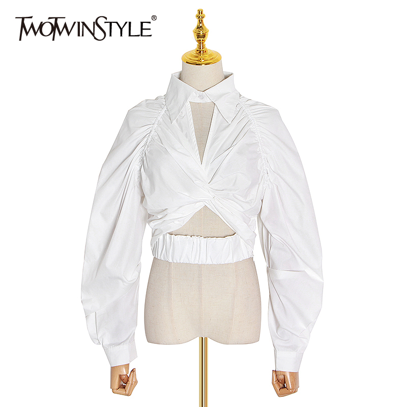 TWOTWINSTYLE Casual Ruched Women Blouse Lapel Collar Lantern Long Sleeve Hollow Out Short Shirt Female Fashion Clothing 2020 New