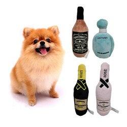 Hohe Qualität Durable Plüsch Wein Flasche Quietschende Spielzeug Für Hund Geschenk Plüsch Parfüm Hund Spielzeug Mit Quietschende