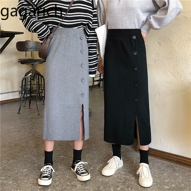 Gagarich Women Elegant Skirt Spring Autumn High Waist Single Breasted Split Knitting Jupe Ladies Solid Casual Midi Long Skirt