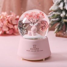 2019 hot sale led light 3d music crystal ball glass snowflake globe creative home decor birthday valentine s day gift for girl Dreamy Pink Crystal Ball Music Box Music Box Rotating Snowflake Light Included Creative Children Girl Child Room Birthday Gift