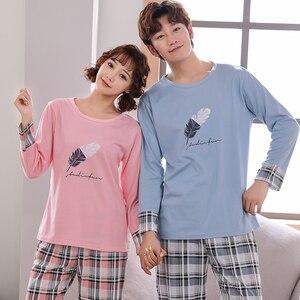 Image 2 - Новинка, весенне осенняя Пижама для пары, Женская Хлопковая пижама с длинным рукавом, милая мультяшная Пижама для мужчин и женщин