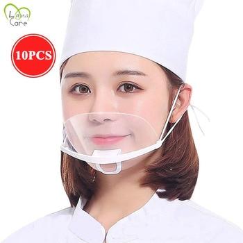 10PCS Restaurant Mouth Mask Sheild Transparent Unisex Face Mask Mouth Reusable Plastic Mask for Hotel Chef Mask