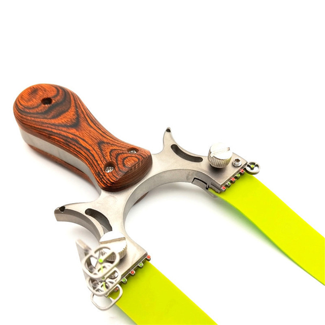 Professional Hunting Slingshot High Quality Stainless Steel Catapult with Flat Rubber Band Outdoor Shooting Game Sling Shot Set 2