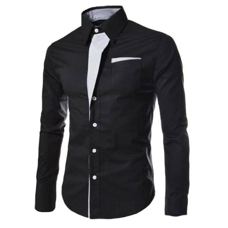 Men's Shirts Fashion Personality Men Business Casual Slim Long-sleeved Shirt Top Blouse Slim Long Sleeve Solid Shirt Work Blouse