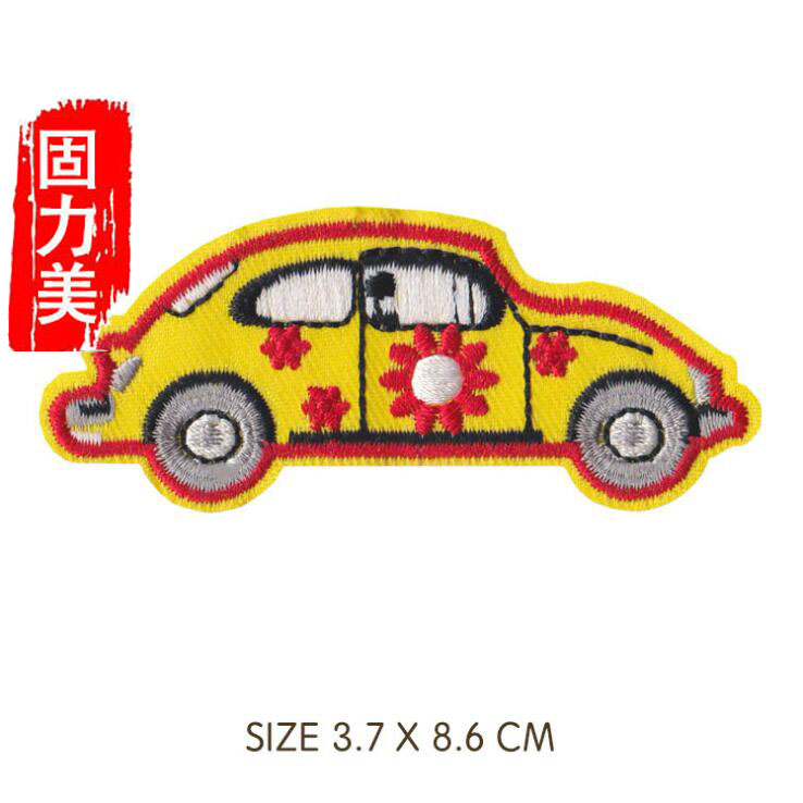 Iron On Applique Patch Pink Gingham Car Round