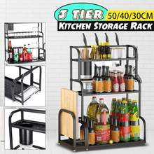 50cm Stainless Steel 3 Tier Kitchen Countertop Spice Rack Organizer Cabinet Shelves Knife Holder with Cutting Board Rack
