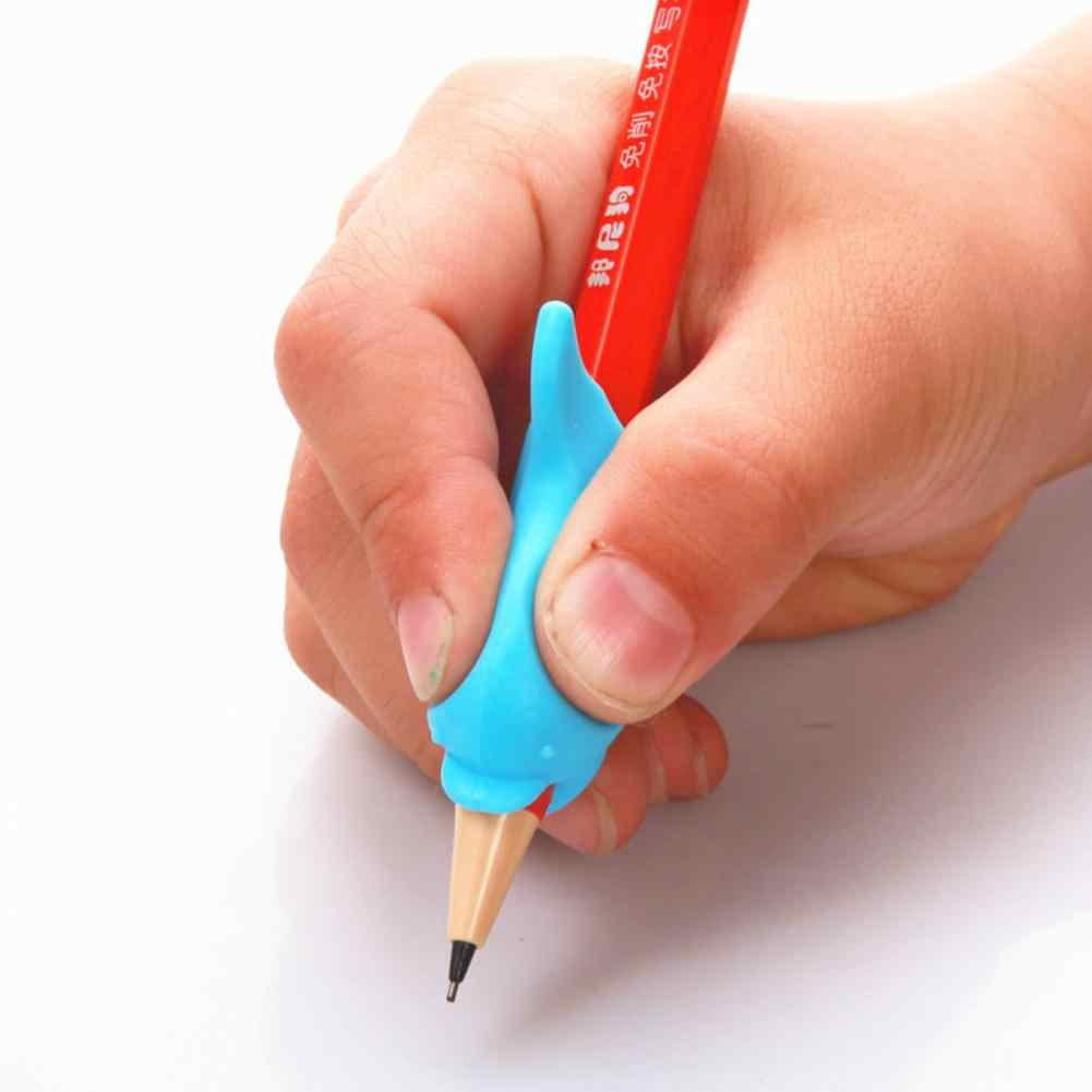הגעה חדשה 10Pcs דולפין עט להחזיק כתיבה יציבה תיקון מכשיר ילד תלמיד מכתבים