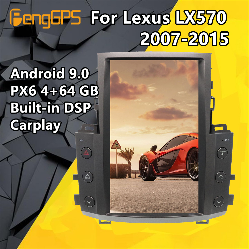 Car Multimedia Player For <font><b>Lexus</b></font> LX570 2007 2008 - 2015 Android Tesla Style Screen Audio Radio Stereo PX6 autoradio GPS Head unit image