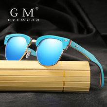 Бренд gm поляризованные линзы синяя деревянная оправа солнцезащитные