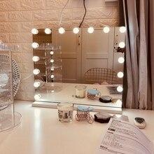 Голливуд Стиль косметическое зеркало для нанесения макияжа и ухода за собой с светильники затемнения светодиодный лампы сенсорный Управле...