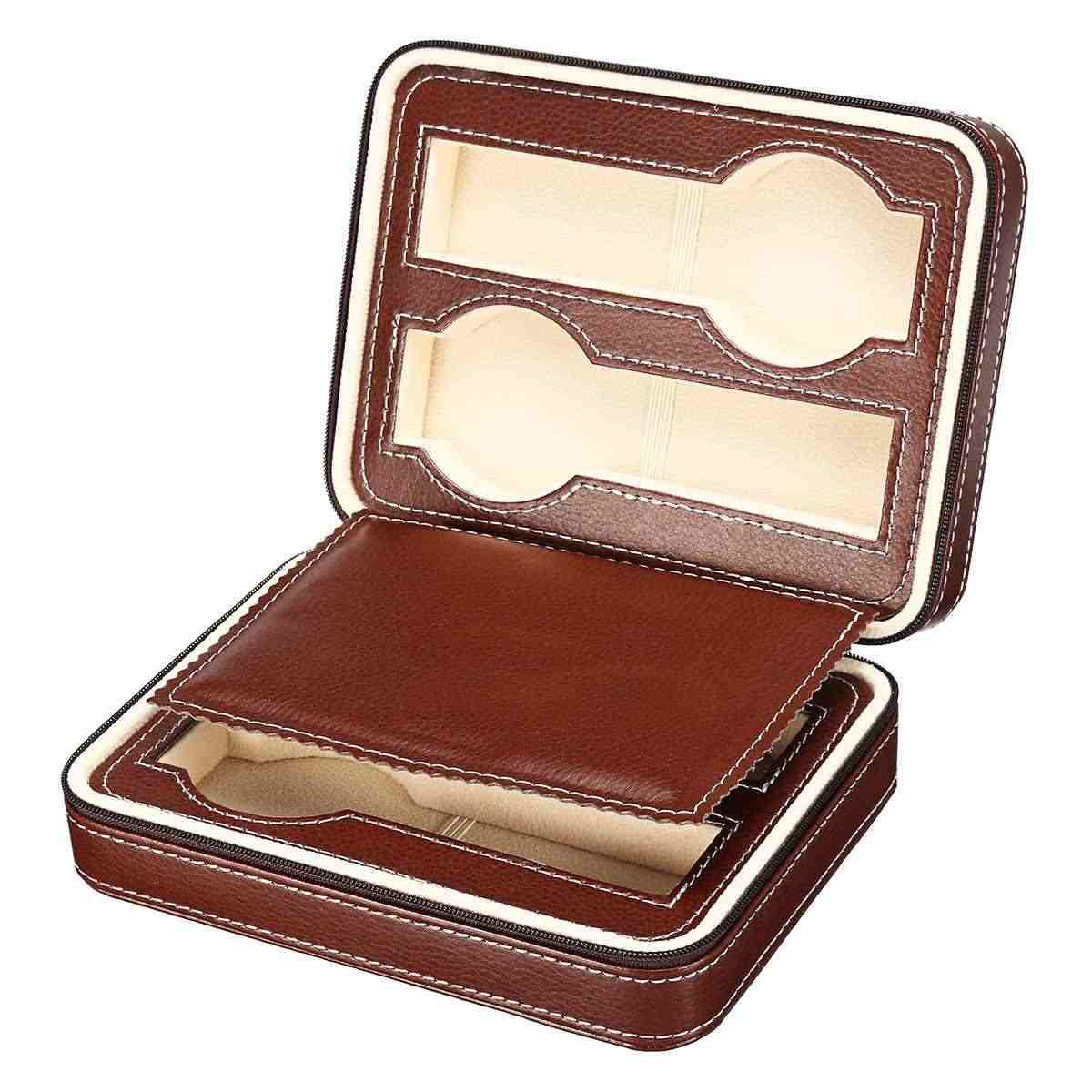 4 กริดแบบพกพากล่องนาฬิกาหนัง PU ที่เหนือกว่าเก็บนาฬิกาผู้ถือกระเป๋าผู้ชายผู้หญิงนาฬิกาอุปกรณ์เสริม