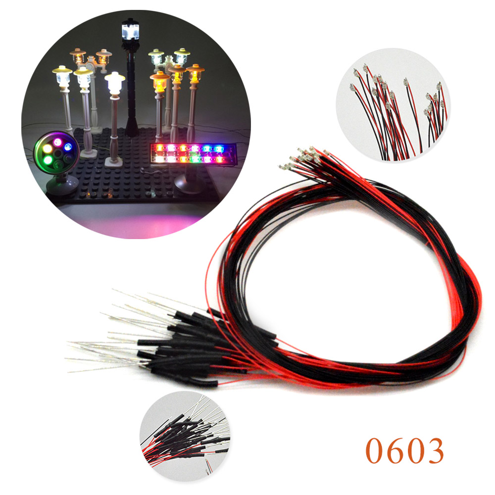 20pcs 0603 SMD Model Train HO N OO Scale Pre-soldered Micro Litz Wired LED Leads With 1.5K Resistor