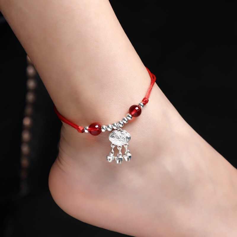 Boho ด้ายสีแดงข้อเท้าสร้อยข้อมือเงินลูกปัดสีเท้าสร้อยข้อมือสายโซ่หญิง Anklet สร้อยข้อมือขาเครื่องประดับสำหรับผู้หญิง