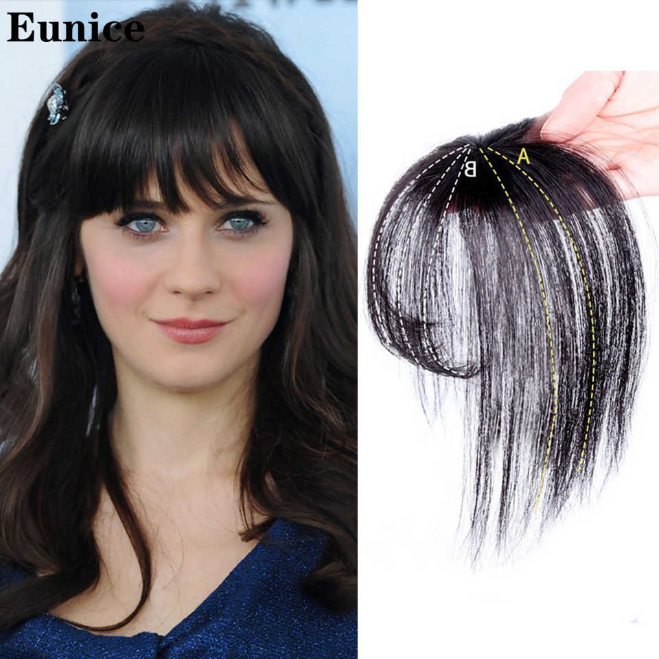 Black/Light Brown Clip On Bangs Hairpieces for Women Bangs Clip In Hair Extensions Synthetic High Temperature Fiber Eunice Hair