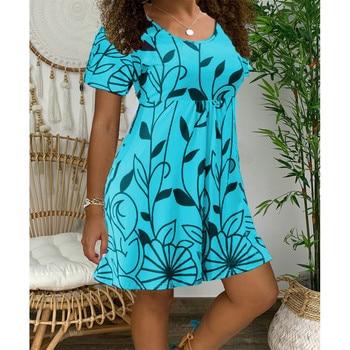 2020 New Summer Dresses Women Casual Short Sleeve O-Neck Print A-line Dress Large Size Streetwear Sundress Loose Dress Vestidos - Myh006 Lake Blue, XXXL