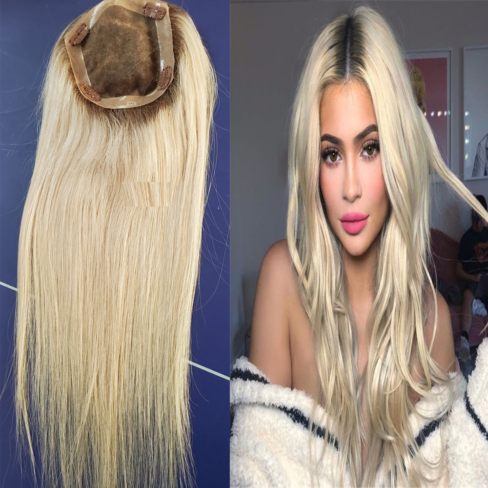 Silk Base Ombre Blonde Jewish Hair Toppers For Women  Wig Women Toupee European Remy Hair Mono Lace Front Top Piece