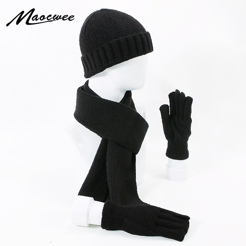 Brand Men Women Scarf Hat Gloves Set Three-Piece Winter Warm Set Female Hats Scarves Men Unisex Beanies Knitted Cap Skullies