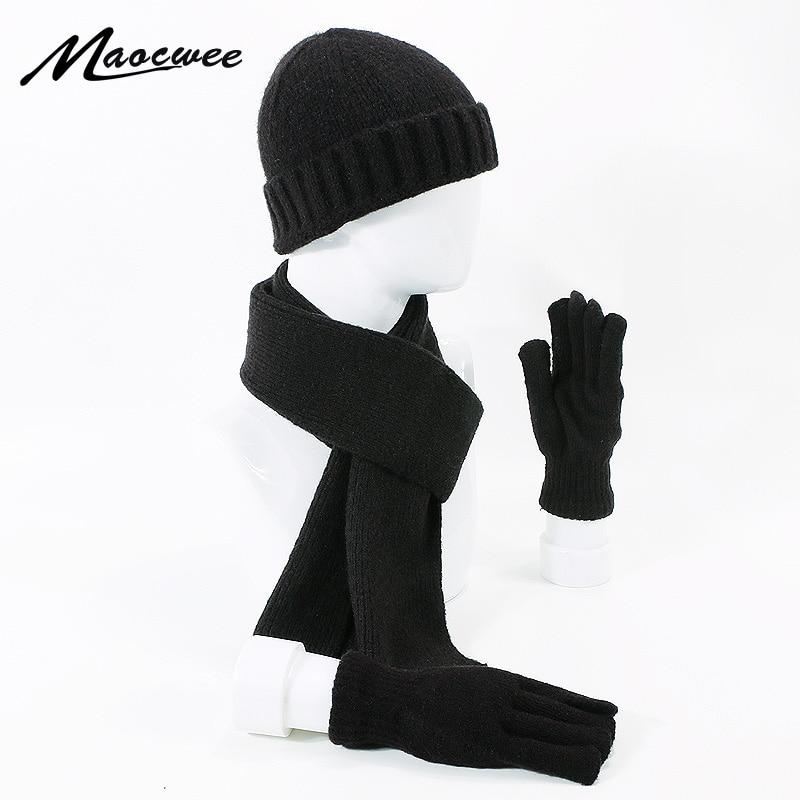 Brand Men Women Scarf Hat Gloves Set Three-Piece Winter Warm Set Female Hats Scarves Men Unisex Beanies Knitted Cap Skullies