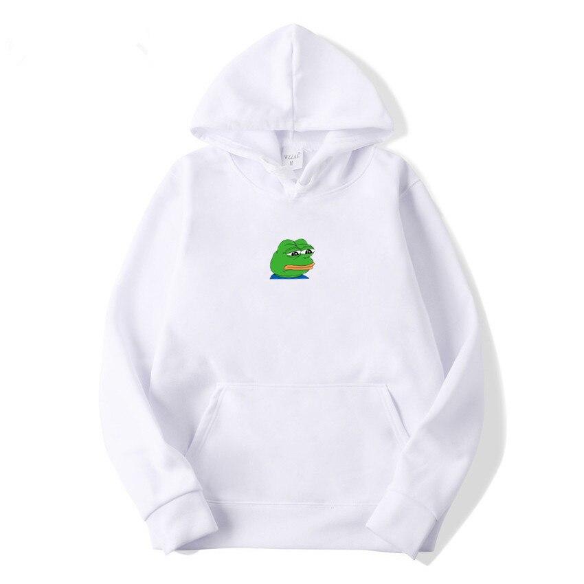 Sad Tearing Frog Print Women Hoodies Casual Long Sleeve Sweatshirts Women 2019 Winter Harajuku Hip Hop Streetwear Women Guards