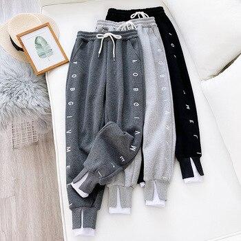 Thick Fleece Elastic Waist Women Harem Pants Drawstring Winter Warm Carrot Pants Letter Printed Streetwear Joggers Trousers 3