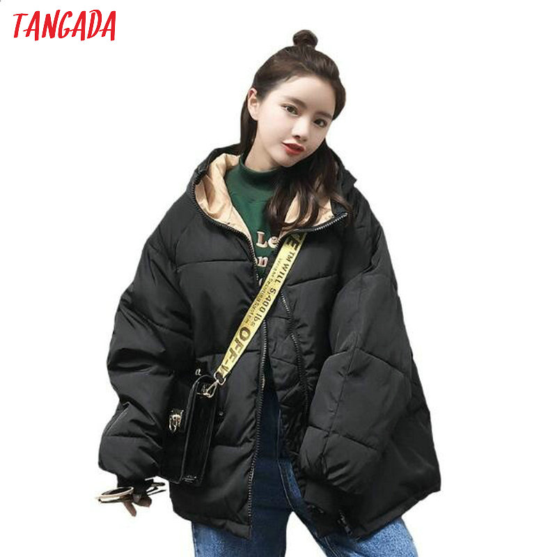 Tangada women Cotton Padded   parkas   oversize thick 2019 Winter female thick warm black hooded coat loose 7 color plus size AMK01