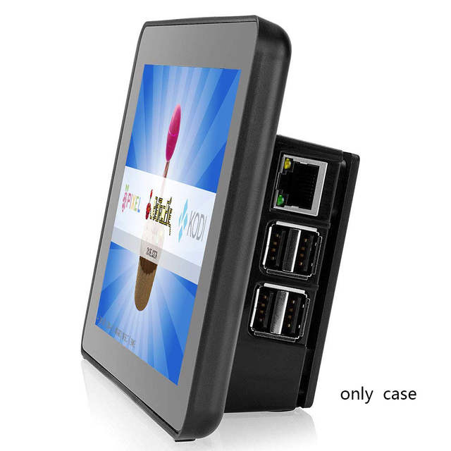 Funda negra para pantalla táctil LCD Raspberry Pi de 7 pulgadas para Raspberry Pi 3b/3b +, solo la carcasa no incluye la pantalla