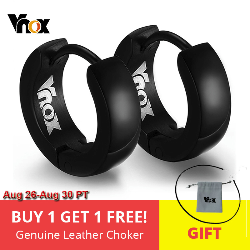 VNOX Cute Hoop Earrings for Men Punk Stainless Steel Huggie Small Earrings 4 Color