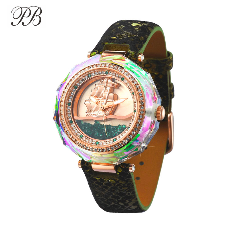 PB Women Watches Quicksand Sailboat Dial Multicolor Crystal Ladies Watch Leather Strap Quartz Luxury Brand Reloj Mujer