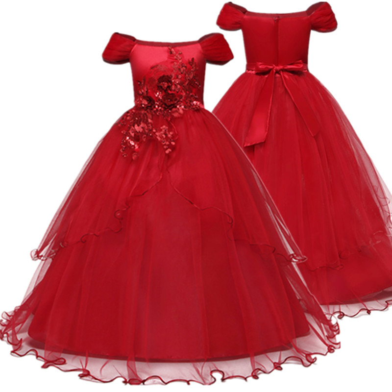 Flower Girl Dresses Gown Red Christmas Lace Long Wedding Pageant First Communion Dress for Big Girls Children Formal Wear 12T 1