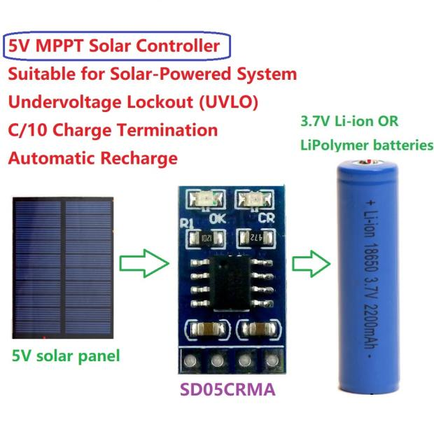 DYKB MINI MPPT Solar Charger 1A 4.2V 3.7V Li-ion Li-Po 18650 Lithium Battery Charging Module  Power Supply Voltage DC 4.4-6V, 5v