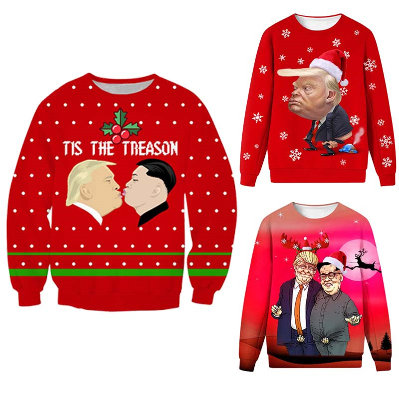 New Funny Ugly Christmas Sweater Donald Trump 3D Casual Mens Pullover Christmas Sweater Autumn Winter Novelty Foute Kersttrui