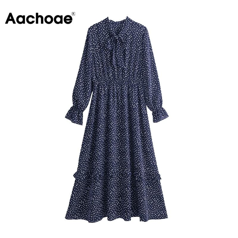 Aachoae Women Geometric Print Vintage Long Dresses 2020 Bow Tie Collar Casual Midi Dress Female Ruffle Long Sleeve Elegant Dress