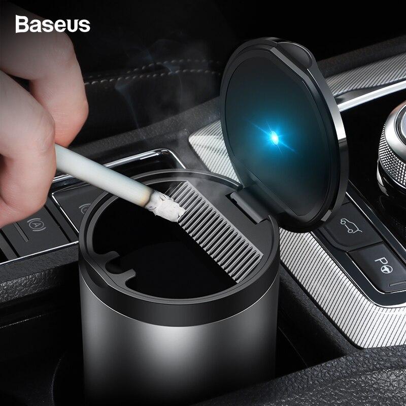 Baseus Portable Cendrier De Voiture avec lumière LED Auto Cigarette Fumée support de verre Cendrier Pour Voiture Sans Fumée Cendriers D'accessoires de Voiture