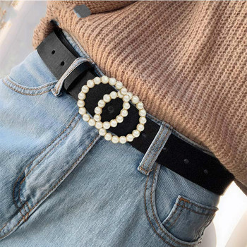 Ladies belt luxury design pearl inlay high quality famous brand fashion wild jeans dress waist decoration