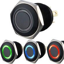 16 мм черный цветной кольцевой выключатель с подсветкой RGB (общий анод и катод)