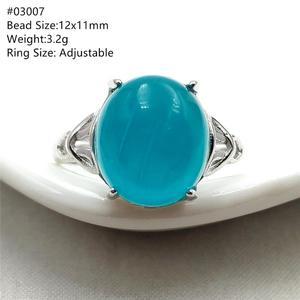 Image 1 - خاتم من الفضة الإسترليني 925 بحجر الأمازونيتي الجليدي الطبيعي الأخضر قابل للتعديل خاتم حريمي ورجالي بحبات كبيرة AAAAA