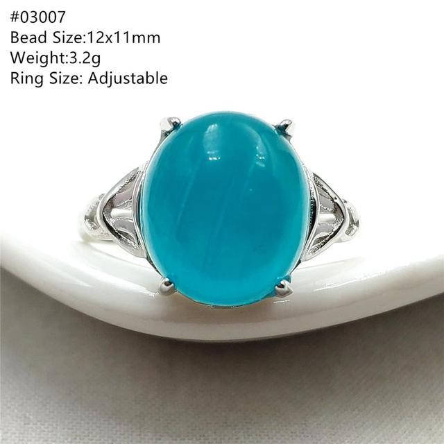 خاتم من الفضة الإسترليني 925 بحجر الأمازونيتي الجليدي الطبيعي الأخضر قابل للتعديل خاتم حريمي ورجالي بحبات كبيرة AAAAA