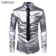 2 sztuk srebra jedwabna koszula + krawat mężczyzna, satynowa, gładka, Tuxedo koszule na co dzień w całości zapinana na guziki mężczyźni ubranie koszule ślubne na imprezę bal koszulka Homme