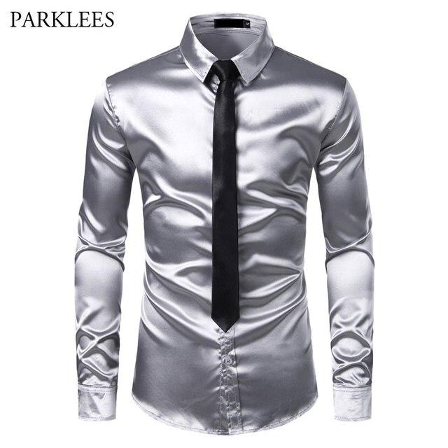 2pcs Camisa + Gravata Dos Homens de Seda De Cetim Liso de Prata Smoking Camisas Casuais Botão Para Baixo Homens Camisas da Festa de Casamento do baile de Finalistas do Vestido Chemise Homme
