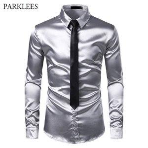 Image 1 - 2pcs כסף משי חולצה + עניבת Mens סאטן חלק טוקסידו חולצות מקרית לחצן למטה גברים שמלת חולצות מסיבת חתונה נשף תחתונית Homme
