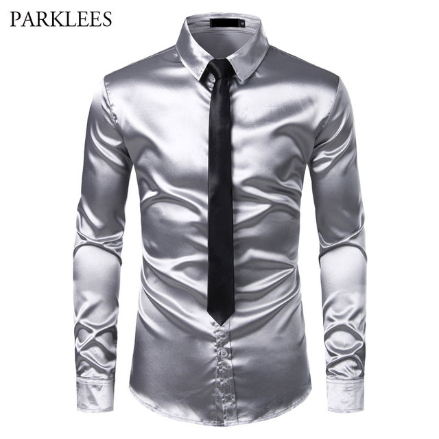 2pcs כסף משי חולצה + עניבת Mens סאטן חלק טוקסידו חולצות מקרית לחצן למטה גברים שמלת חולצות מסיבת חתונה נשף תחתונית Homme
