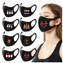 Máscaras de boca de impressão de natal reutilizável colorido tecido protetor de rosto tampas de boca moda máscara lavável neutra mascarilla bocas