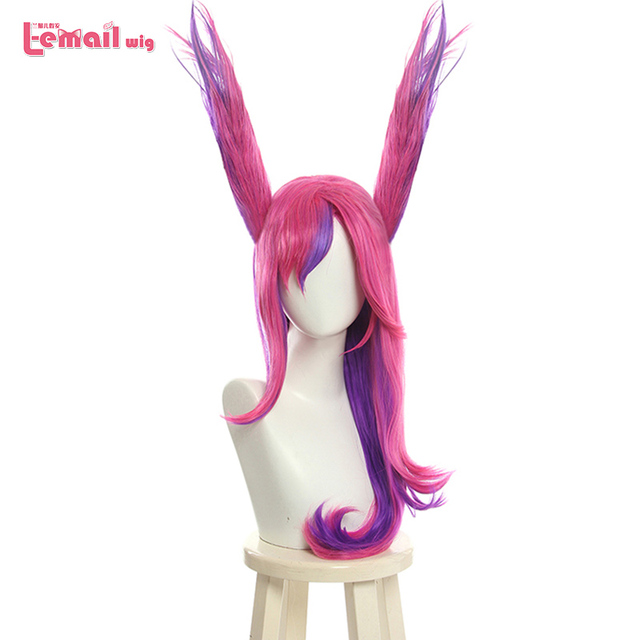 L email wig LoL Xayah Cosplay Wigs Star Guardians Cosplay Long Pink Purple Wig with Ears Halloween Heat Resistant Synthetic Hair
