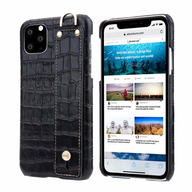YXAYN Genuine Leather Crocodile Pattern Strap Ultra Thin Hard for iphone 11 Pro max X XS XR 7 8 Plus Phone Case 1