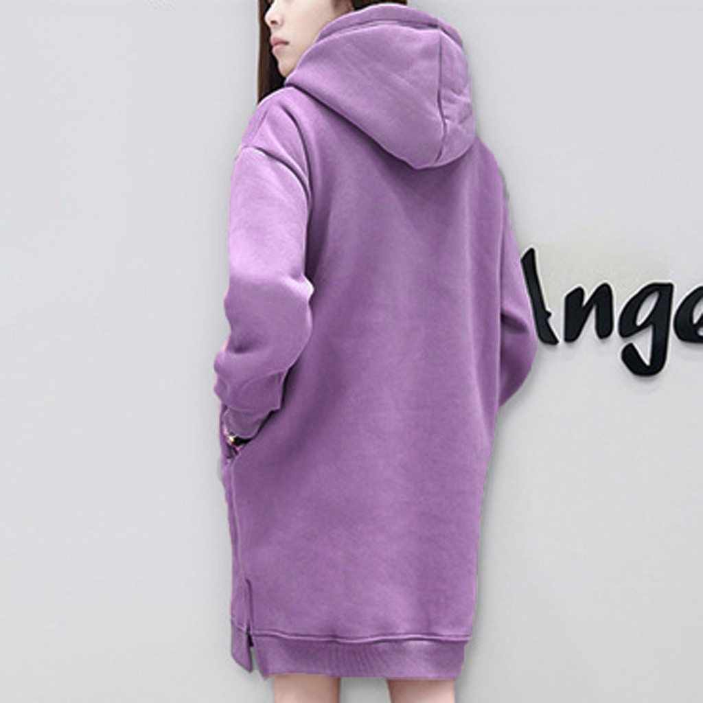 Hoodie Long Sleeve Letter Printing Dress Korean Women Winter Knitted Dress Baggy Oversized Hooded Dress Ropa