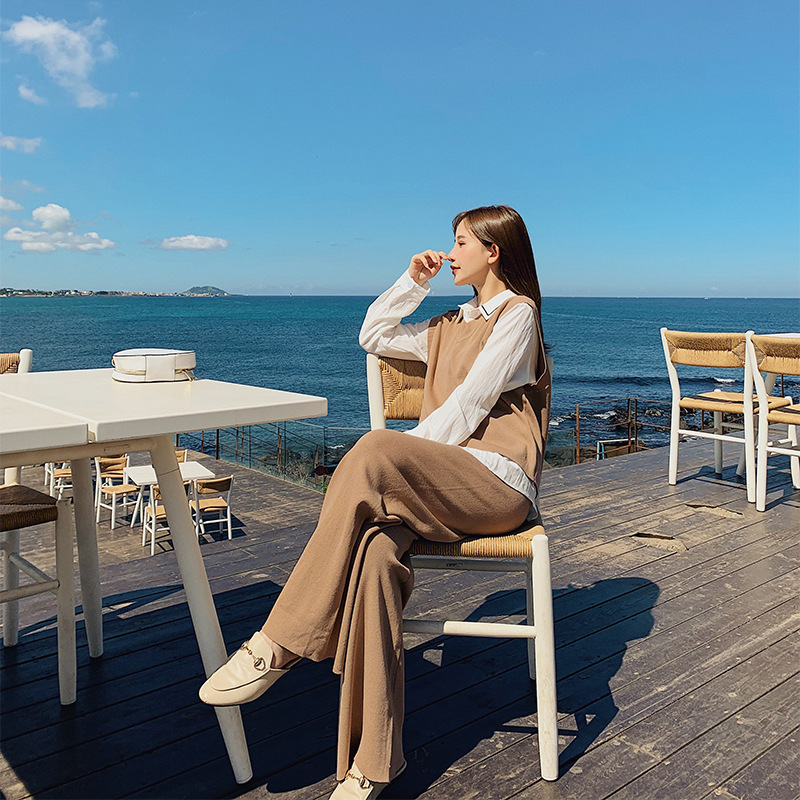 Fashion WOMEN'S Suit 2019 Autumn New Style Elegant Vest Tops + Loose Pants Online Celebrity Royal Sister Two-Piece Set F7584