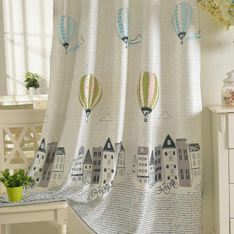 High Shading Curtains Cartoon Flying Balloon Boy Children Curtains For Living Room Cute Curtains For Bedroom Kids Kindergarten